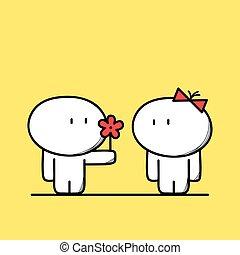 mignon, fleur, homme, donne
