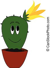 mignon, fleur, illustration, vecteur, jaune, cactus