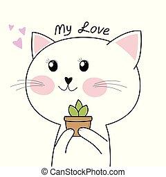 mignon, fleur, isolé, arrière-plan., tenue, chaton, blanc