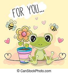 mignon, fleur, salutation, grenouille, dessin animé, carte