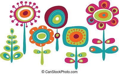 mignon, fleurs, coloré