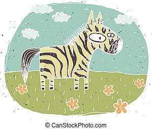 mignon, fleurs, grunge, fond, illustration, main, vecteur, zebra, eps8, mode!, dessiné, clouds.