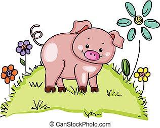 mignon, fleurs, herbe verte, cochon
