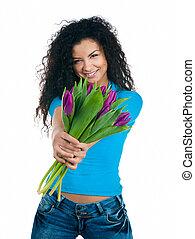 mignon, fleurs, jeunes femmes