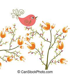 mignon, fleurs, oiseau
