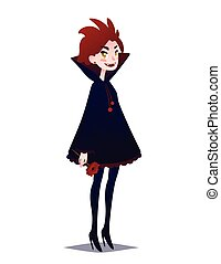 mignon, flower., vampire, roux, girl, rouges