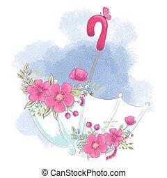 mignon, flowers., vecteur, parapluie, illustration, dessin animé