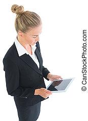 mignon, fonctionnement, tablette, femme affaires, elle, vue côté