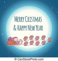 mignon, fond, clair, kawaii, deer., santa, nouveau, agréable, noël, heureux, claus, dons, year., joyeux, carte, chibi., sky., étoilé, moon., salutation, neuf, équipe, traîneau
