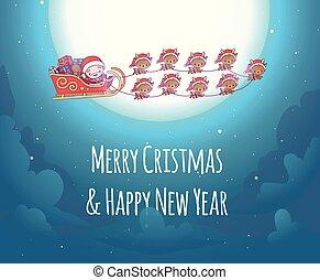 mignon, fond, clouds., clair, kawaii, ciel, deer., santa, nouveau, agréable, noël, heureux, claus, dons, year., joyeux, carte, chibi., étoilé, moon., salutation, neuf, équipe, traîneau