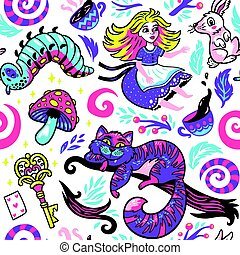mignon, fond, conte fées, alice, caractères, pays merveilles, dessin animé