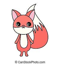 mignon, fond, renard blanc, caractère, dessin animé