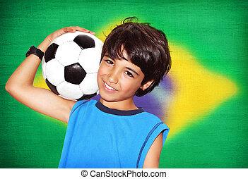 mignon, football, jouer, garçon