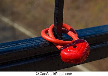 mignon, forme coeur, cadenas