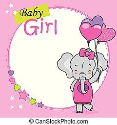mignon, forme coeur, card., douche, éléphant, bébé, ballons