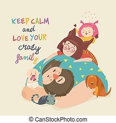 mignon, fou, family., père, animaux familiers, mère, portrait, enfants