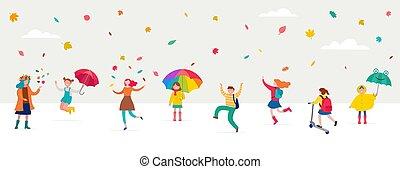 mignon, foule, moderne, scène, automne, amusement, enfants, umbrellas., style, minuscule, divers, sous, plat, familles, coloré, illustration, sauter, automne, femmes, gens, automne, feuilles, avoir, hommes, vecteur, rain., jouer