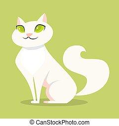mignon, fourrure, chat repos, rigolote, blanc