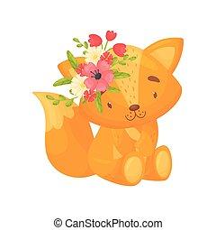 mignon, fox., illustration, arrière-plan., vecteur, blanc, dessin animé