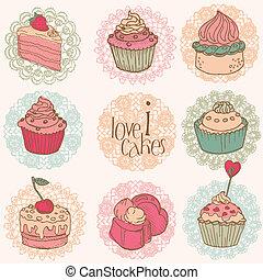 mignon, gâteaux, -, desserts, vecteur, conception, album,...