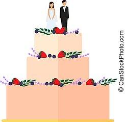 mignon, gâteaux, isolé, décoration, arrière-plan., mariage, floral, blanc