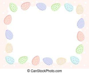 mignon, gabarit, oeufs, colors., cadre, coloré, pastel, ...