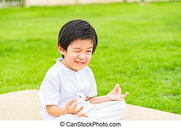 mignon, garçon, bouddhiste, haut, asiatique, fin