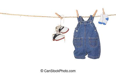 mignon, garçon, corde, pendre, bébé vêt
