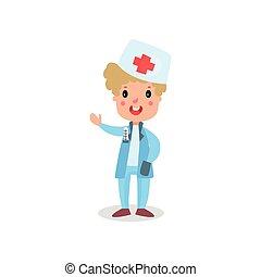 mignon, garçon, docteur, illustration, stéthoscope, vecteur, professionnel, habillement, jouer, gosse