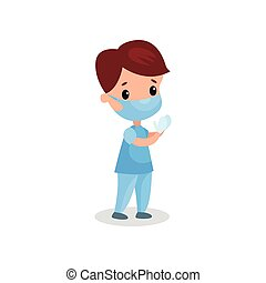 mignon, garçon, docteur médical, masque, illustration, gants, vecteur, professionnel, habillement, jouer, gosse