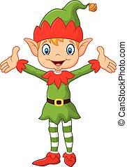 mignon, garçon, elfe, haut, vert, déguisement, mains