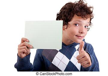 mignon, garçon, main, prise vue., carton, isolé, arrière-plan., studio, blanc