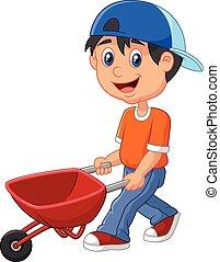 mignon, garçon, pousser, dessin animé, wheelbar