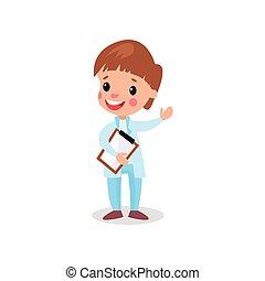 mignon, garçon, presse-papiers, docteur, illustration, vecteur, professionnel, habillement, jouer, gosse