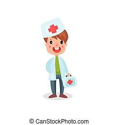 mignon, garçon, professionnel, docteur, kit, illustration, vecteur, enfant, aide, séance, habillement, jouer, premier
