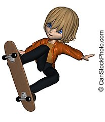 mignon, garçon, toon, skateboard, -, 2
