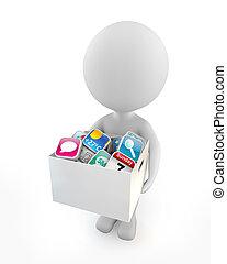mignon, gens, -, application, 3d, logiciel