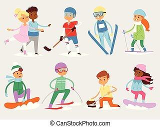 mignon, gens, isolé, sportifs, froid, sport, girl, hiver, hiver, vacances, enfants, vacances, heureux, illustration, garçons, ski, enfant, dessin animé, gosse, gosses, ciel, snowboard, s, vecteur, jeux, activité, amusement, enfance