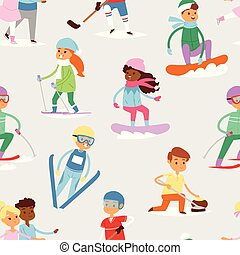 mignon, gens, sportifs, froid, sport, girl, hiver, modèle, hiver, seamless, enfants, vacances, heureux, garçons, ski, fond, enfant, dessin animé, gosse, gosses, ciel, snowboard, s, vecteur, jeux, activité, amusement, enfance
