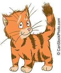 mignon, gingembre, ector, cat., illustration, animaux familiers