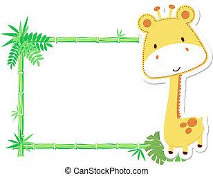 mignon, girafe bébé, cadre