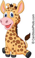 mignon, girafe bébé, dessin animé
