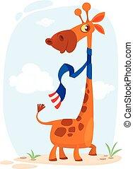 mignon, girafe, caractère, dessin animé
