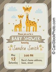 mignon, girafes, douche, invitation, bébé, carte