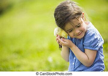 mignon, girl, à, les, poulet