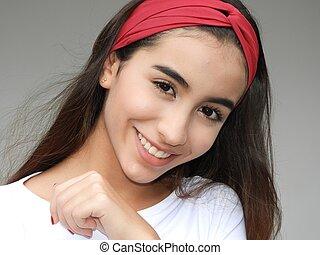 mignon, girl, adolescent, sourire