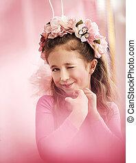 mignon, girl, adorable, chapelet, coloré