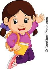 mignon, girl, aller, à, école, dessin animé
