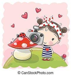 mignon, girl, appareil photo, dessin animé