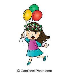 mignon, girl, balloons.